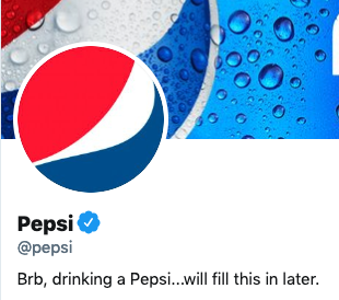 Funny twitter bio from @Pepsi