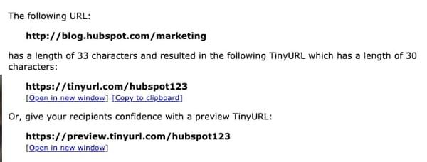 Page de résultats TinyURL
