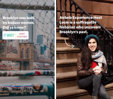 Airbnb highlights customers in its Instagram Stories