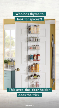Wayfair highlights spice rack in Instagram Story
