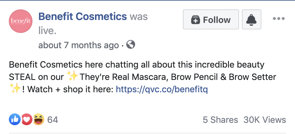 Benefit Cosmetics Facebook Live caption