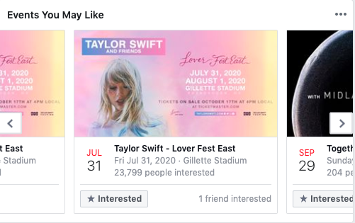 Events you may like example on Facebook