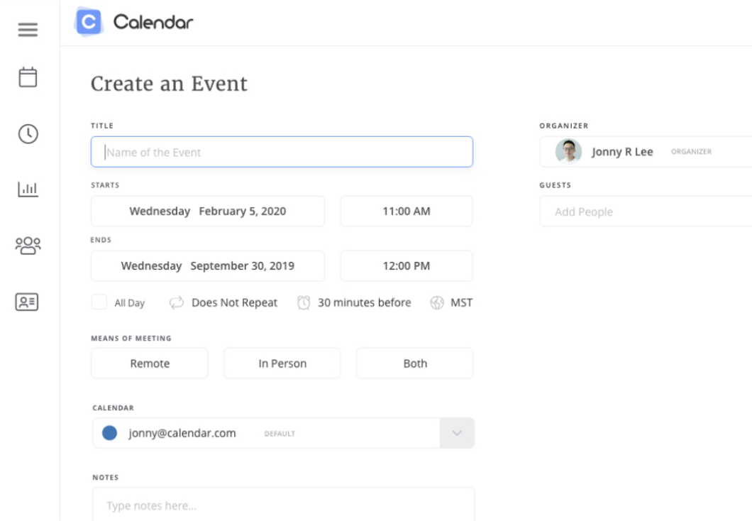 Create an Event page on Calendar website