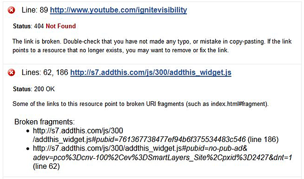 List of broken links and suggested actions generated by the W3C Link Checker