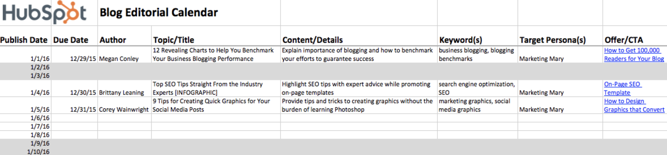 HubSpot's Blog Editorial Calendar - Free Template in Excel