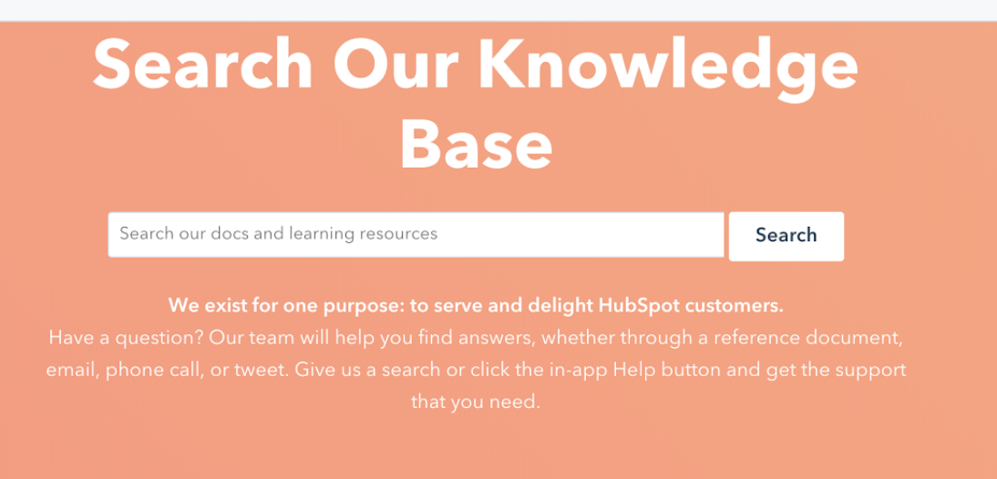 example of HubSpot web self service knowledge base