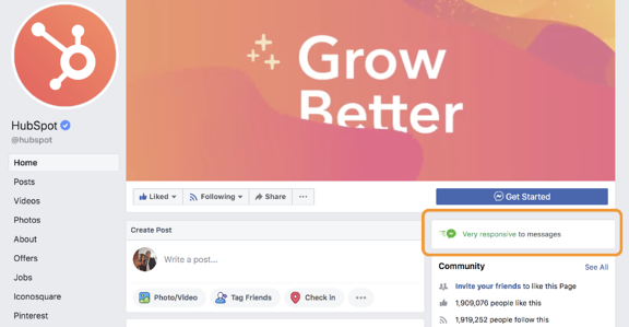 facebook customer service business page response time