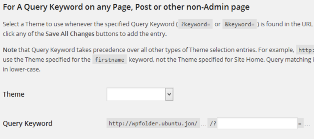 change wordpress website web page theme with query keyword