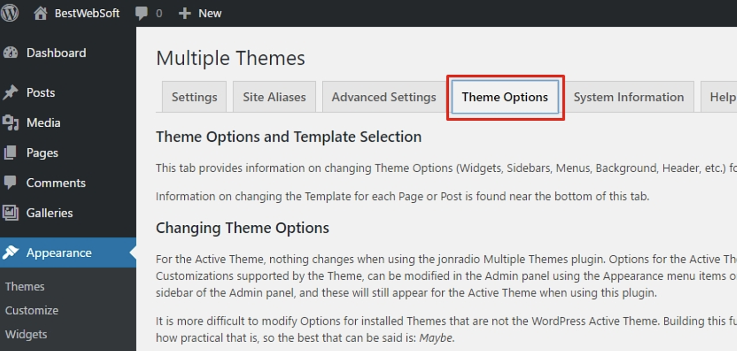 configure multiple themes in wordpress