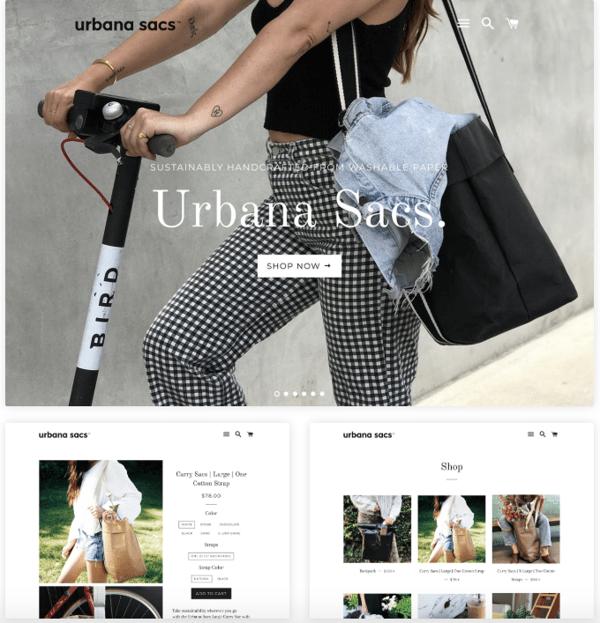 Urbana sacs store built on Shopify CMS