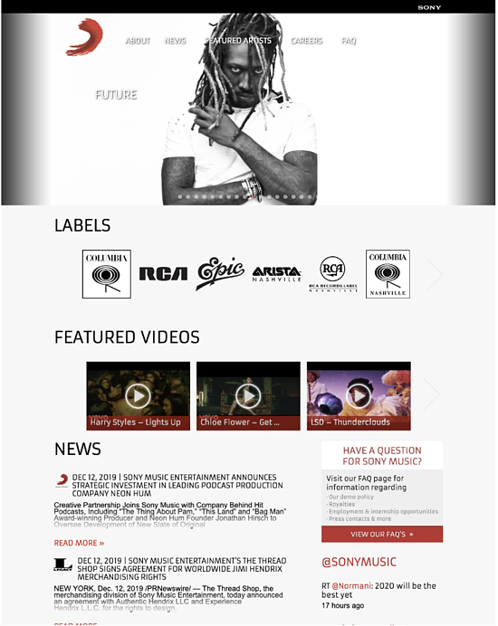 Sony Music homepage powered by Wordpress CMS