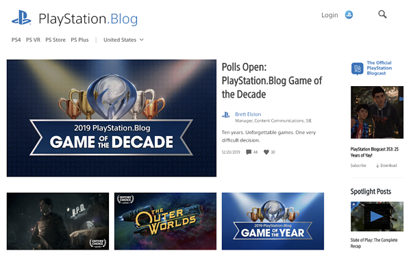 Playstation Blog homepage powered by WordPress CMS
