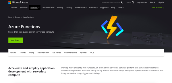 Azure functions homepage