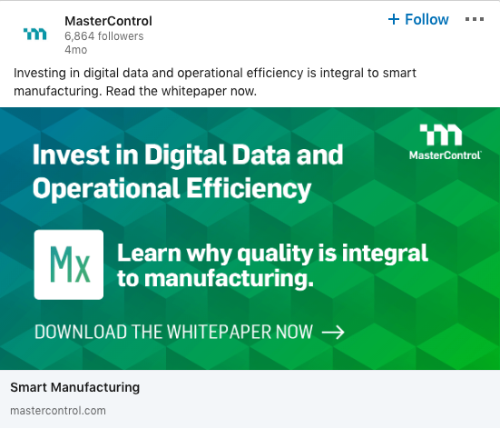 MasterControl ad example on LinkedIn