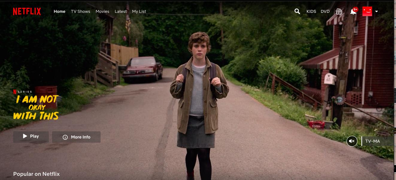 Captura de tela da página inicial da Netflix