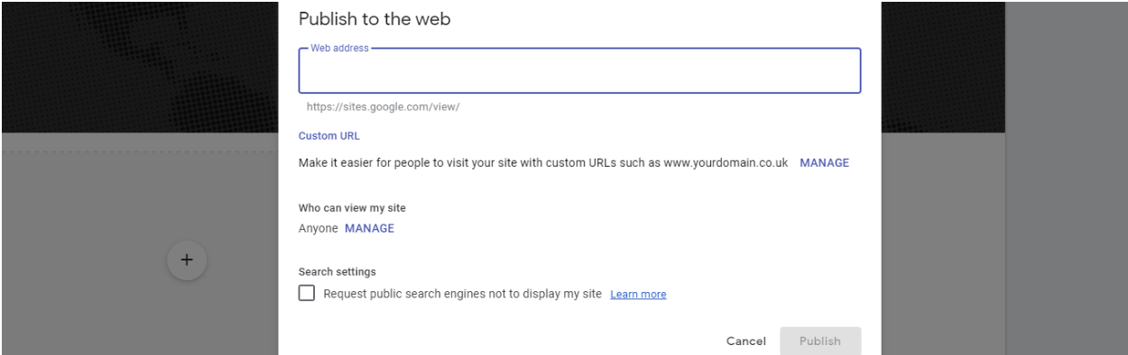 how to use google sites publish your google site