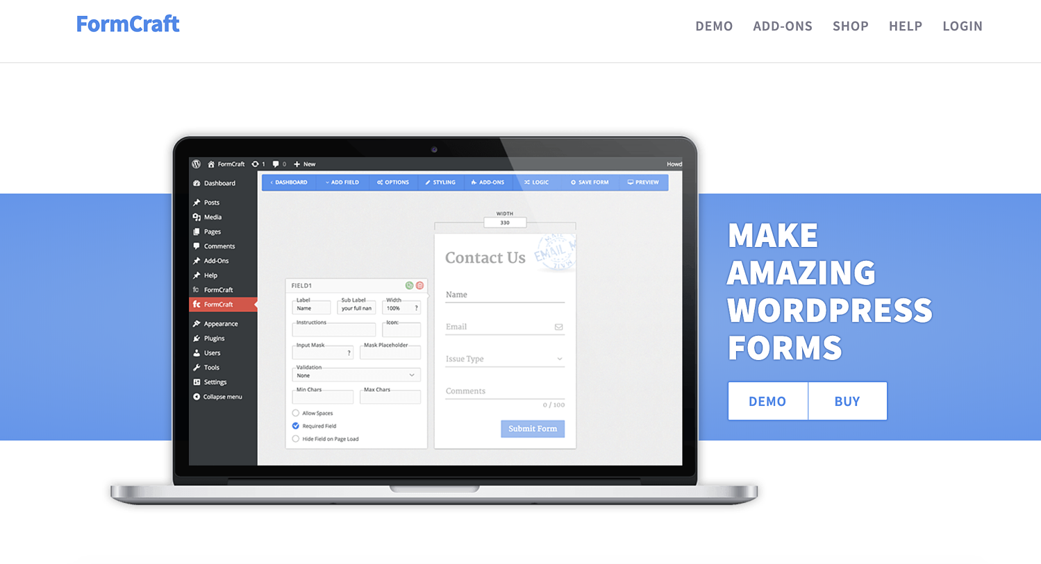 formcraft wordpress contact form plugin