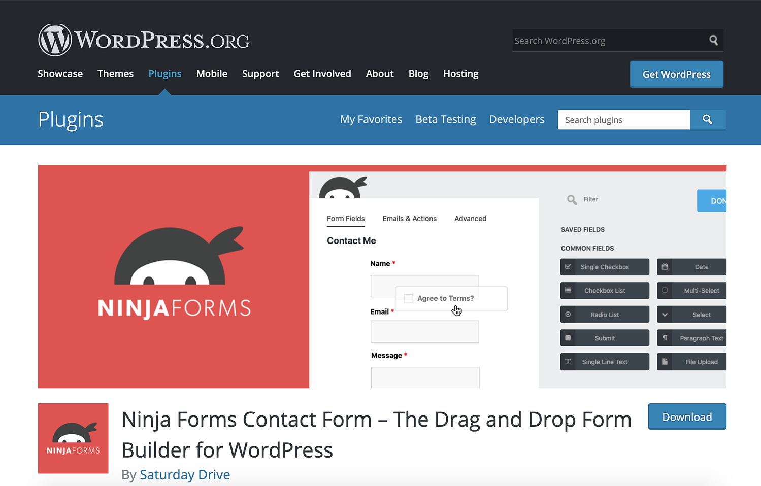 ninja forms wordpress contact form plugin