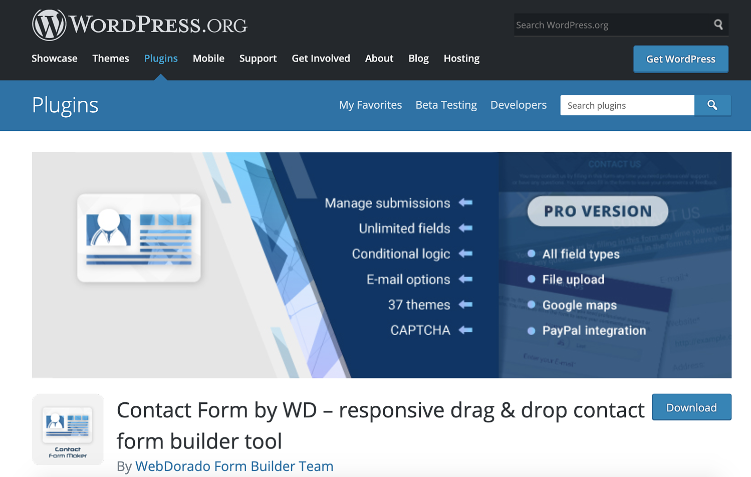 contact form by wd wordpress contact form plugin