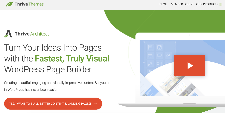 thrive architect landing page wordpress plugin