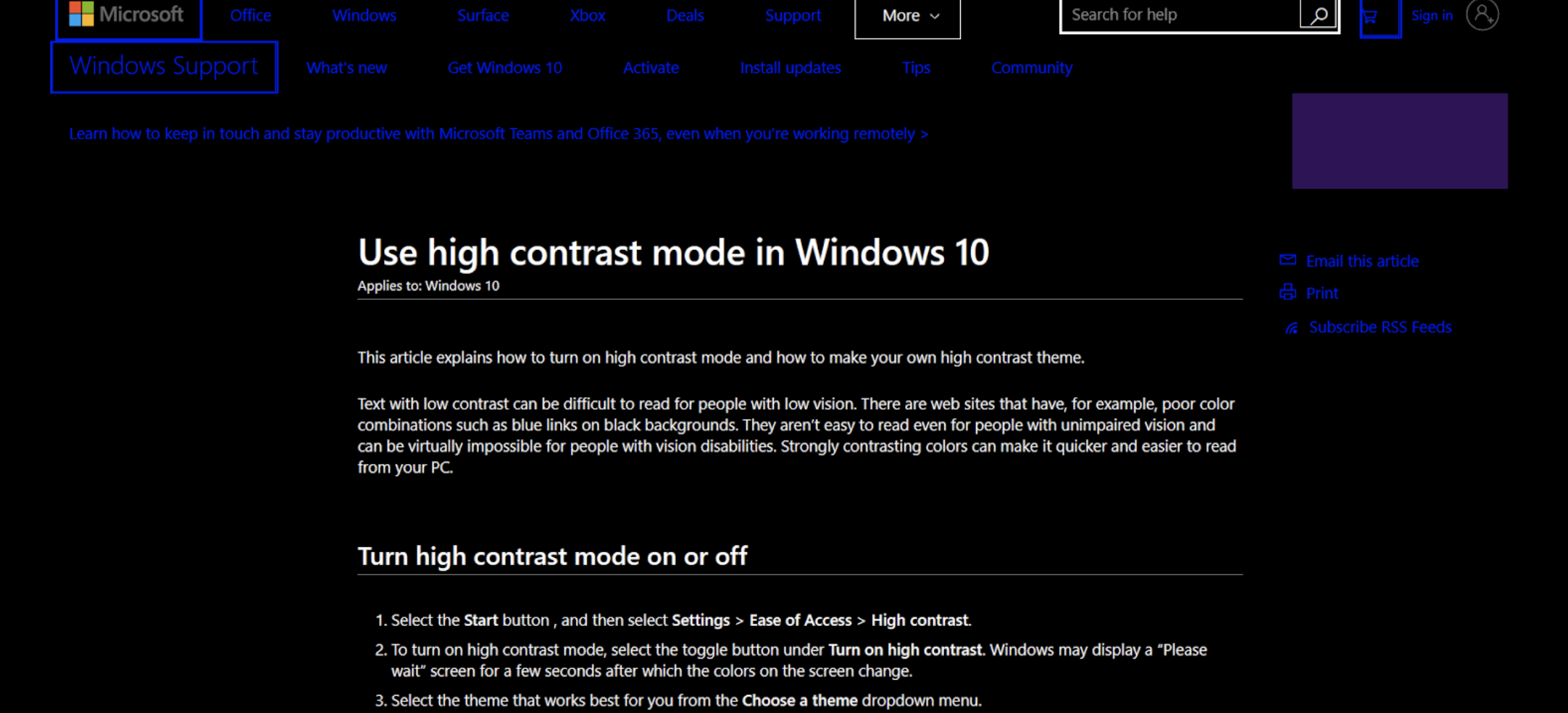 Windows 10 support site as seen in Windows High Contrast Mode