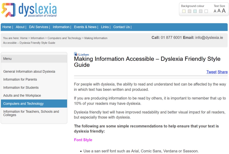 Dyslexia Association of Ireland website with default white background