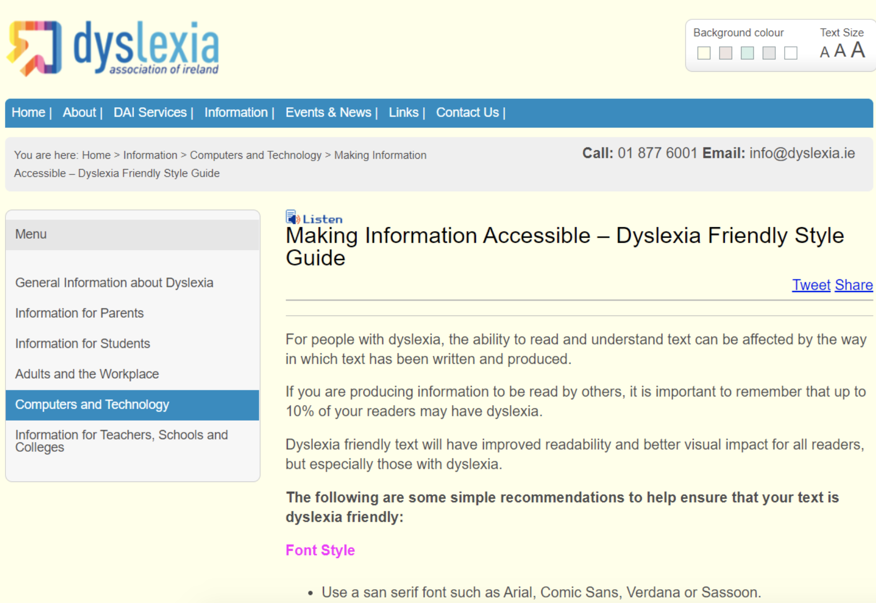 Dyslexia Association of Ireland website with pale yellow background