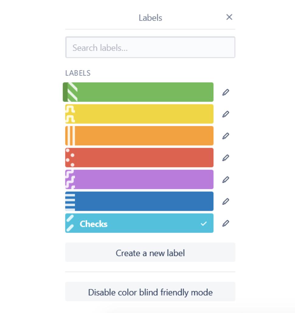 Trello labels color blind friendly mode