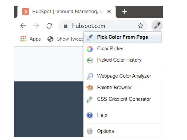 ColorZilla tool showing pick color from page option