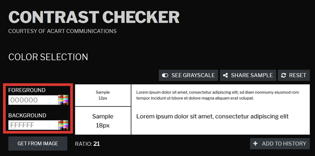 Contrast Checker showing foreground and background color input fields