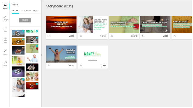 Marketing Video Builder dashboard example