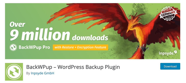 backwup free wordpress backup plugin