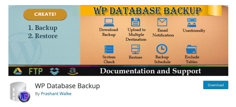 wp database backup wordpress backup plugin