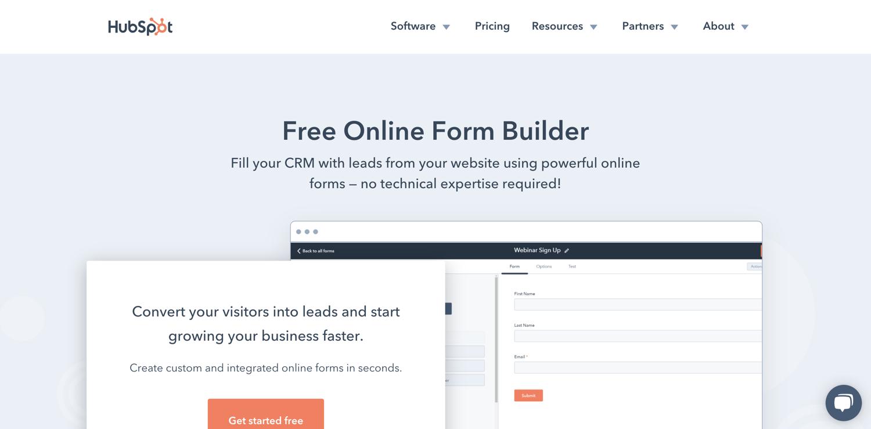 lead generation form builder tools hubspot
