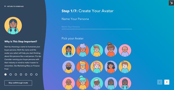 HubSpot'sMake My Persona blogging tool