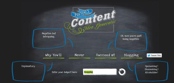 porten's content idea generator blogging tool