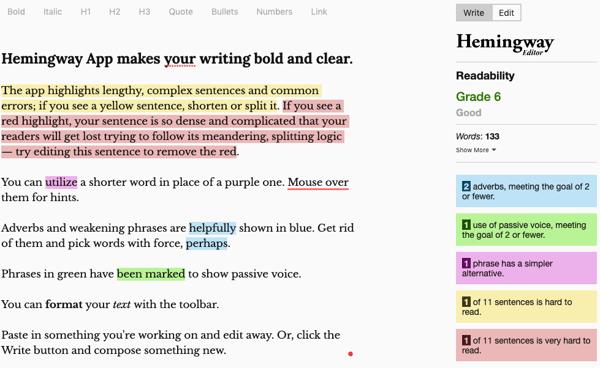 Hemingway app blogging tool