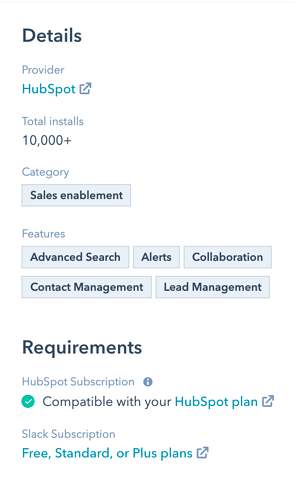 Slack app details in HubSpot app marketplace