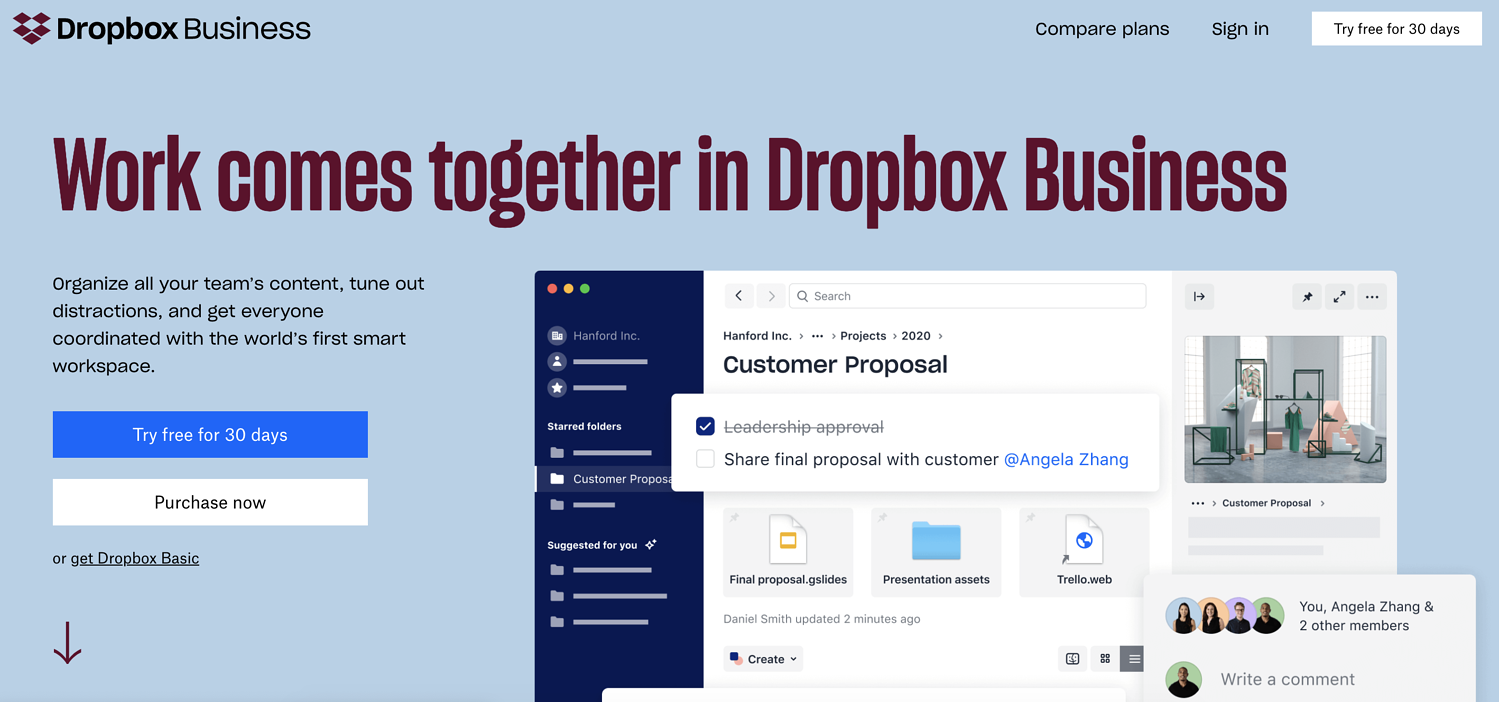 dropbox business remote work tool