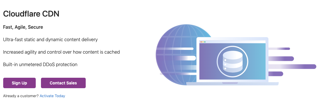 Cloudflare CDN product page