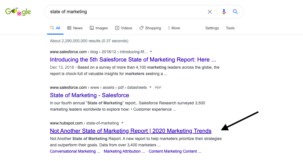 search engine marketing results page status