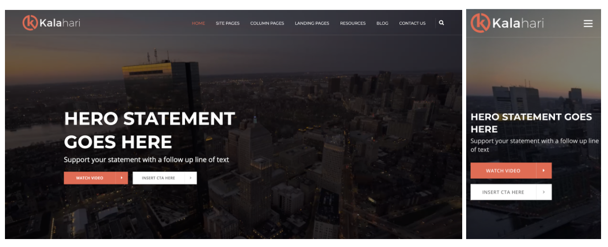 kalahari responsive web design template