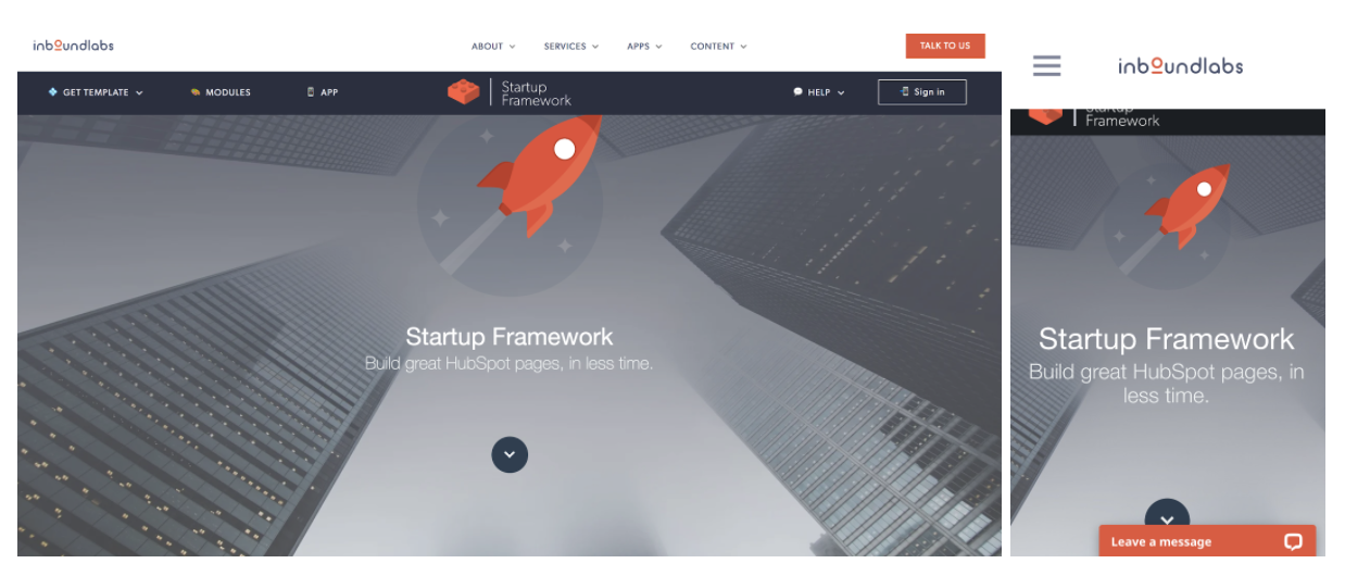 startup framework responsive web design template