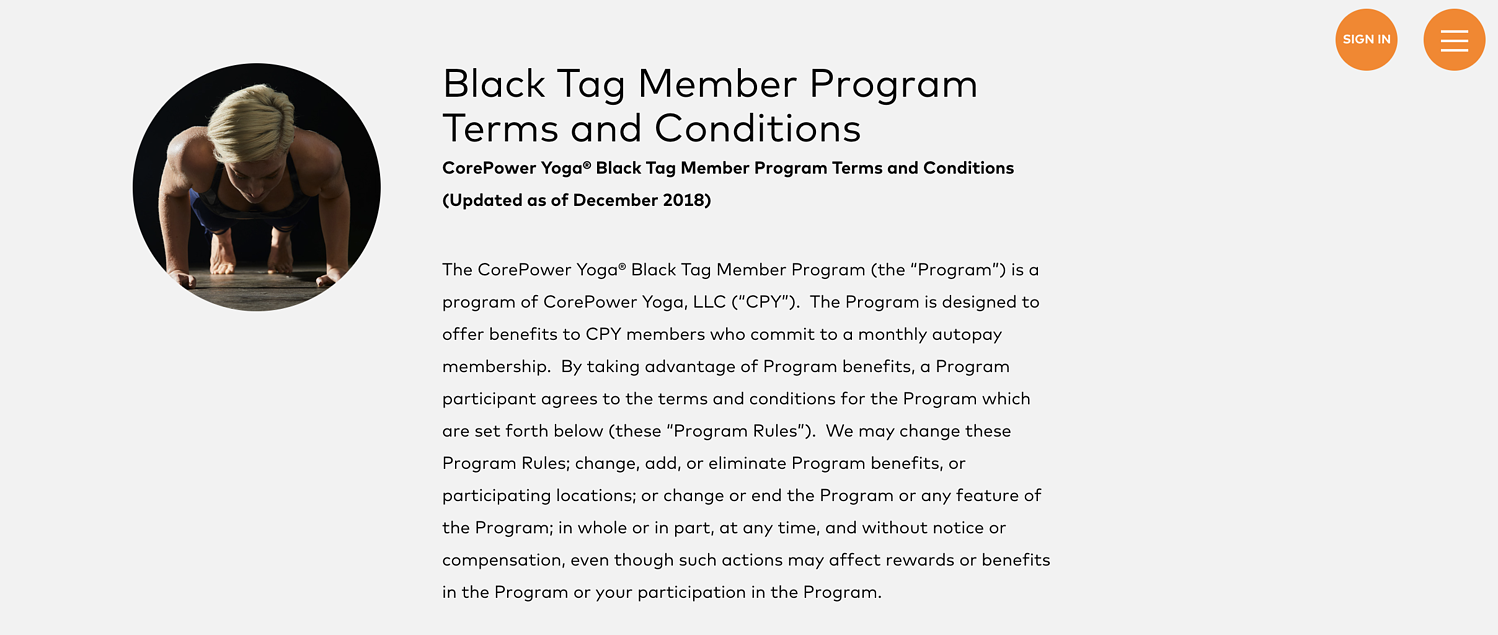 corepower yoga blacktag membership