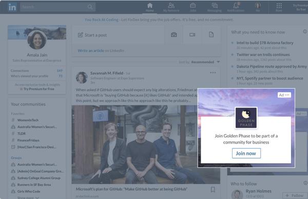 types of LinkedIn Ads dynamic ads