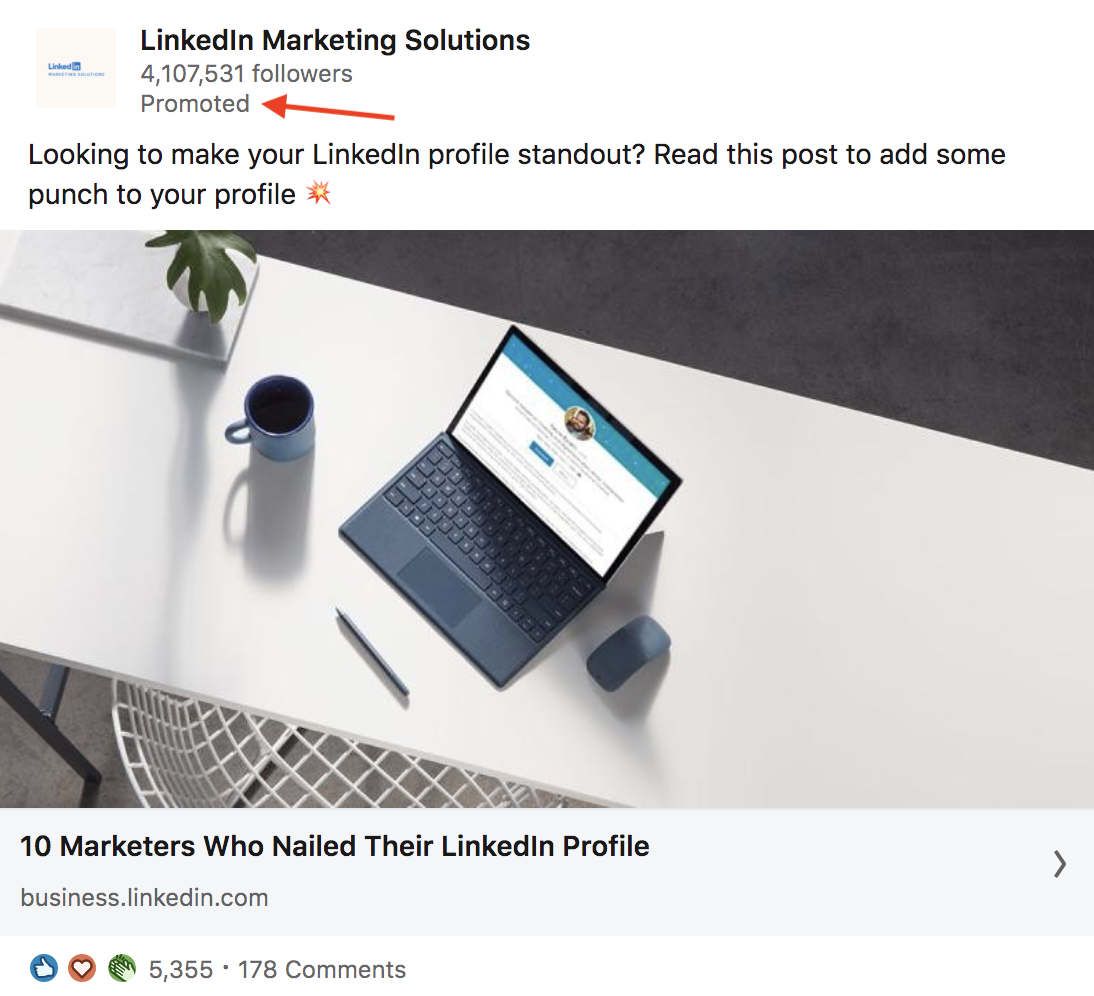 paid advertising example linkedin