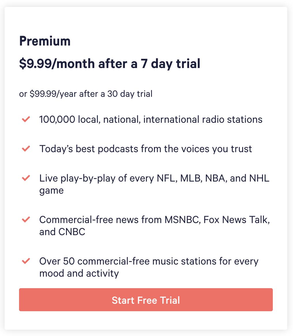 tunein premium freemium example
