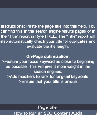 Page title section of On-Page SEO template
