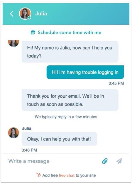 HubSpot live chat software
