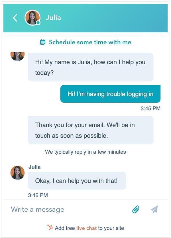 HubSpot live chat software